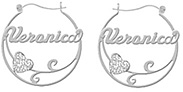Name Hoop Earrings with Heart Flourish in Sterling Silver