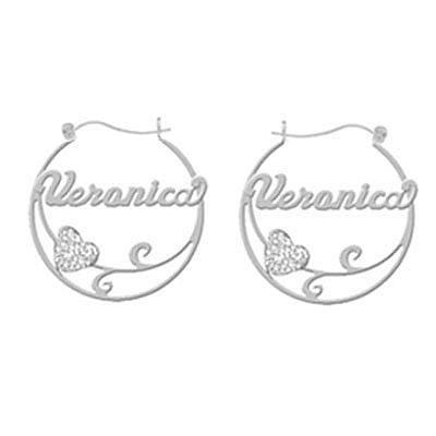 Name Hoop Earrings with Heart Flourish in Sterling Silver
