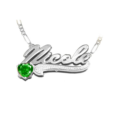 White Gold Name Pendant with Heart Birthstone and Figaro Necklace