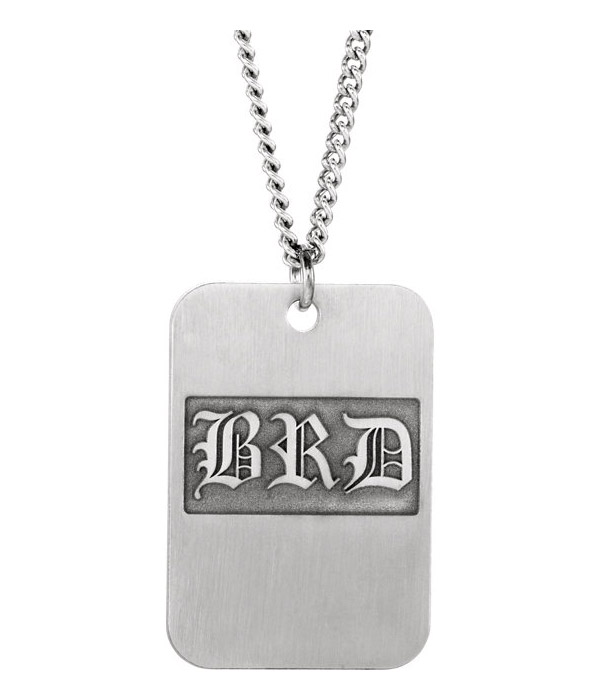 Old English Monogram Dog-Tag Necklace in Silver
