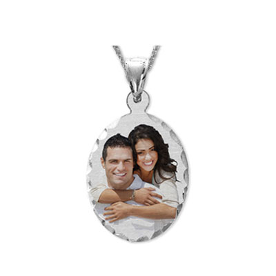 White Gold Oval Color Photo Jewelry Pendant with Diamond Cut Edges