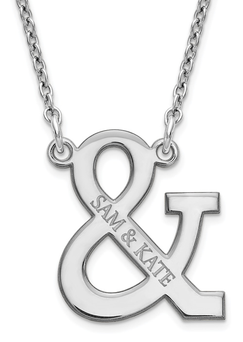 Personalized Ampersand Names Necklace, Sterling Silver