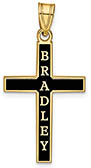 Personalized Antiqued Name Cross Pendant in 14K Gold