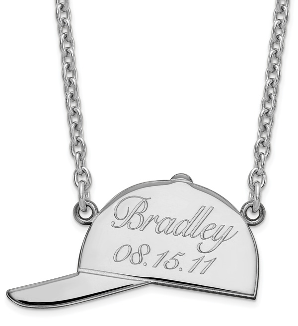 Personalized Baseball Cap Necklace in Sterling Silver
