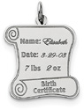 Personalized Birth Certificate Pendant, Sterling Silver