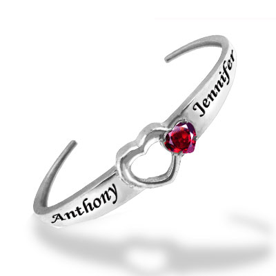 Personalized Birthstone Cuff Bangle Bracelet with Heart CZ, Sterling Silver