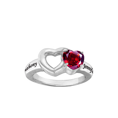 Personalized Birthstone Promise Ring with Heart-Shaped CZ