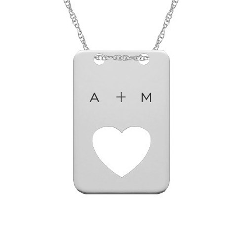 Cut-Out Heart Dogtag Necklace in Sterling Silver with Initials