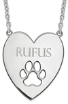 Personalized Dog Paw Print Heart Necklace, Sterling Silver