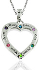 Personalized Family Heart Pendant with CZ Birthstones in Sterling Silver