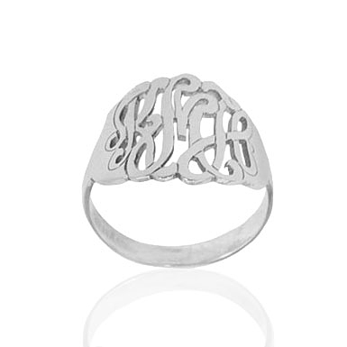 Personalized Filigree Monogram Name Ring in White Gold