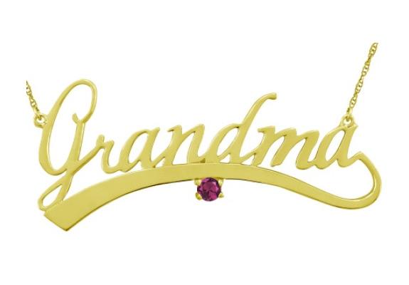 Gold Grandma Necklace with Custom Gemstone