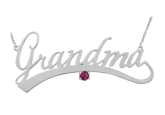 personalized grandma necklace with gemstone in sterling silver