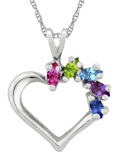 Personalized Marquise Gemstone Heart Necklace in White Gold