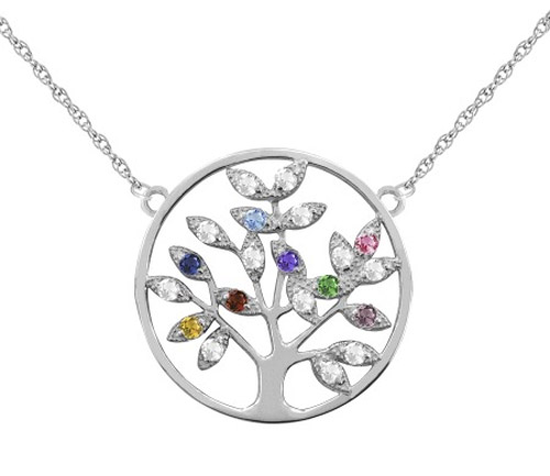 Personalized Gemstone Tree of Life Necklace, Sterling Silver