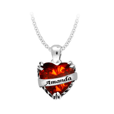 Personalized Heart Name Pendant CZ Necklace in Sterling Silver