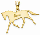 Personalized Horse Name Pendant in 14K Gold