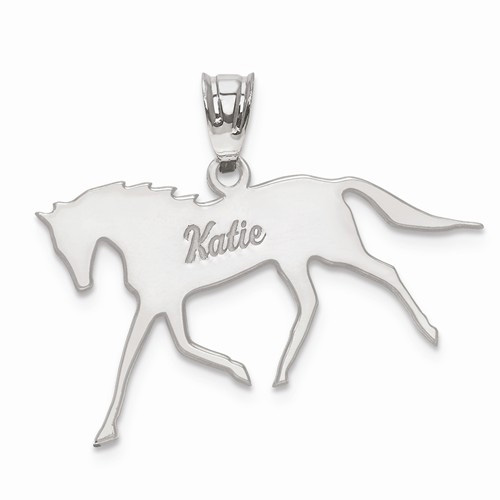Personalized Horse Pendant, Sterling Silver