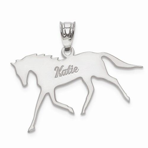 Custom Horse Name Pendant in 14K White Gold