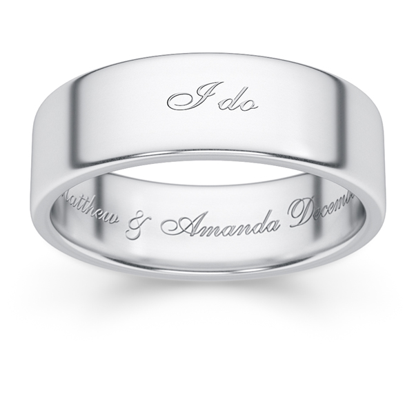 i do white gold personalized wedding band ring