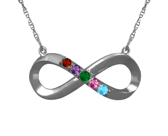 Personalized Infinity Birthstone Necklace in Sterling Silver