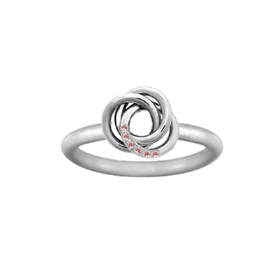 Personalized Love Knot Ring with Cubic Zirconia Stones in Sterling Silver