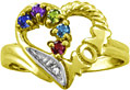 Personalized Mom Gemstone Heart Ring in Yellow Gold