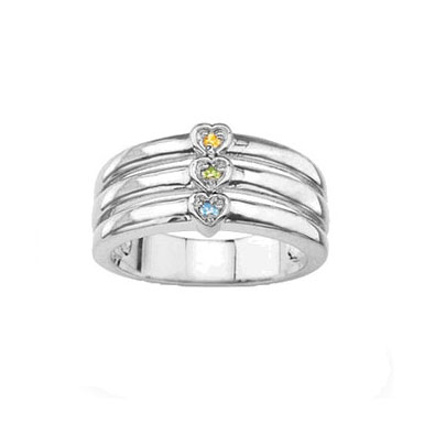 Personalized Mother's Heart Ring with CZ Stones