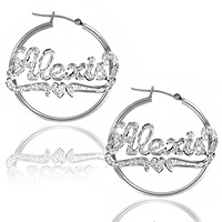 Custom Name Hoop Earrings in Sterling Silver & Rhodium with Heart