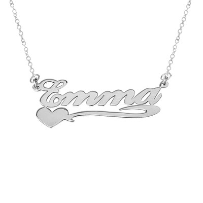 White Gold Personalized Name Necklace with Heart