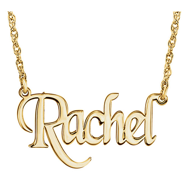 Gold Personalized Name Necklace with Stylish Block Font
