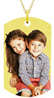 Personalized Dog Tag Photo Necklace in Gold