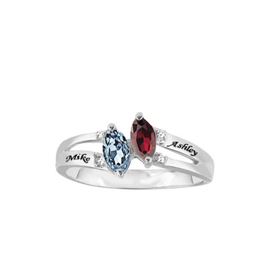 Personalized Silver Purity Ring with CZ Stones