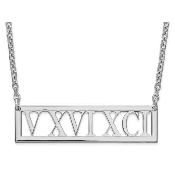 Personalized Roman Numeral Bar Necklace in Silver