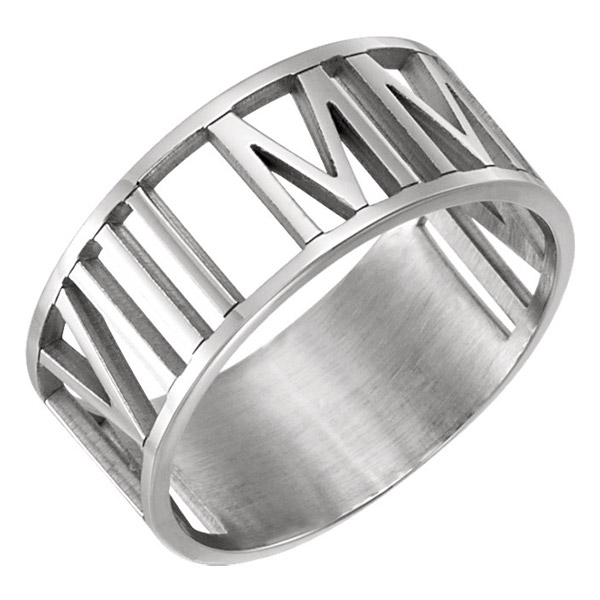 Women's Personalized Roman Numeral Date Wedding Band Ring in White Gold