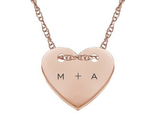 Small Personalized Rose Gold Initial Heart Necklace
