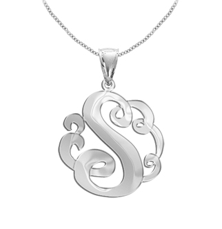 White Gold Personalized Single Initial Pendant Necklace