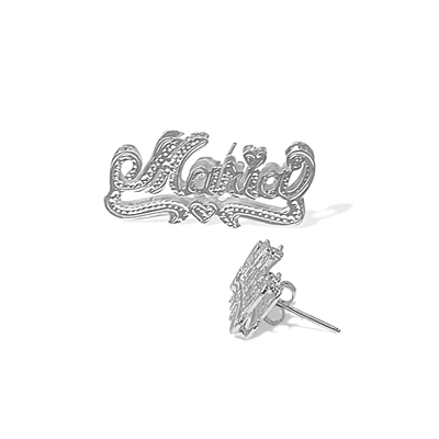 Personalized Stud Name Earrings in White Gold