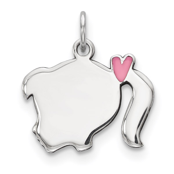Pink Enamel Engraveable Girl Pendant in Silver