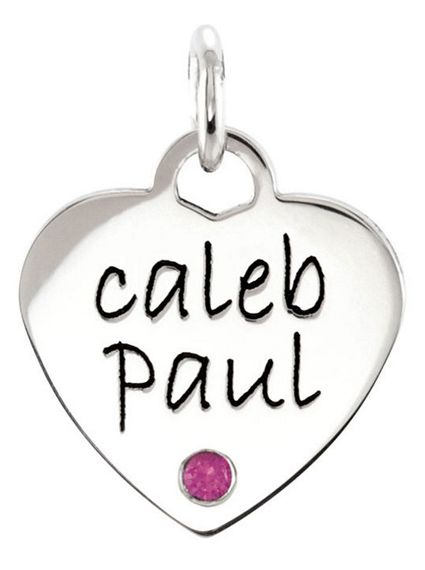 Posh Mommy Personalized Gemstone Heart Pendant in 14K