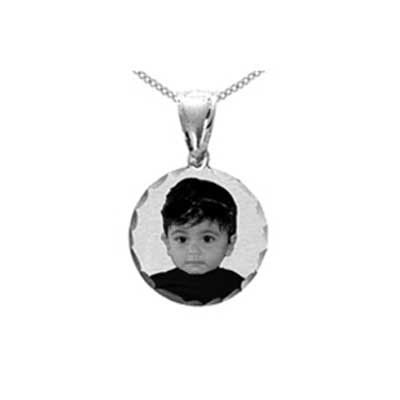 Round White Gold Black and White Photo Engraved Pendant