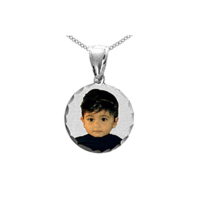 Round Color Picture Jewelry Necklace in Sterling Silver