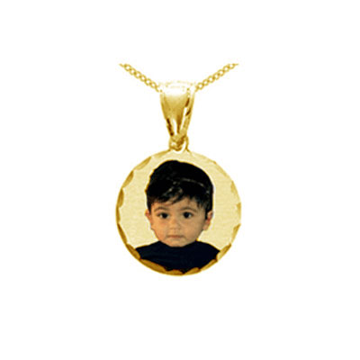 Round Yellow Gold Color Picture Necklace Pendant