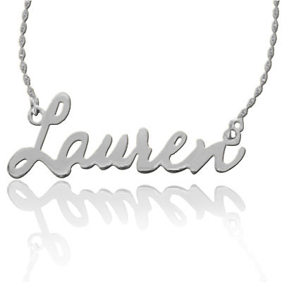 White Gold Script Font Name Necklace