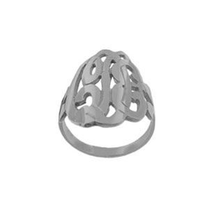 Script Initial Monogram Ring in White Gold