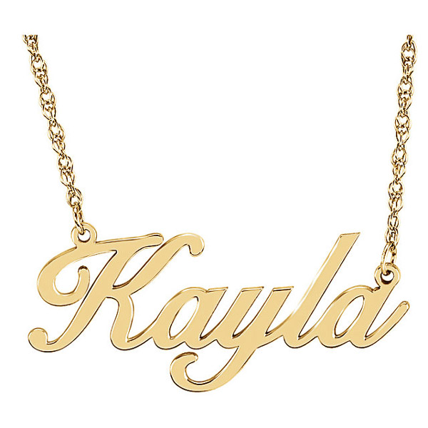 Gold Personalized Script Nameplate Necklace