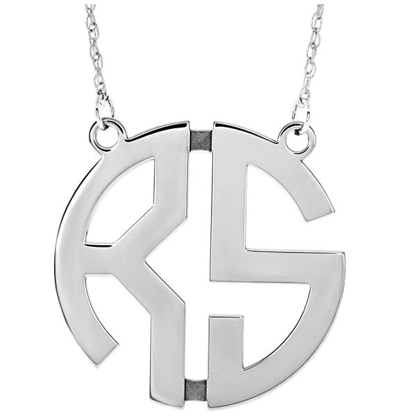 White Gold 2-Letter Monogram Necklace for Women