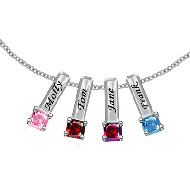 Sterling Silver Engraved Mother's Necklace with 4 Birthstone Charms