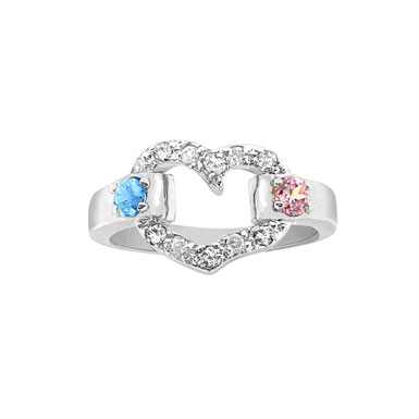 Sterling Silver Heart Shaped Ring with Two Birthstones