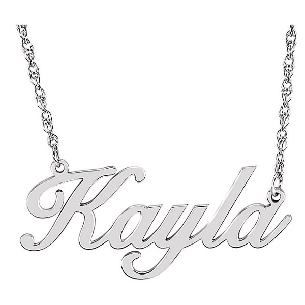 Custom Script Name Necklace in White Gold